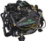 Pictured is carbureted version of inboard engine replacement. This engine is also available with multiport fuel injection. Fresh water cooling is optional on all these engines.  Bobtail engine (No Trans.) carbureted